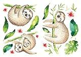 dekodino® Wandtattoo Aquarell Faultiere mit Blättern
