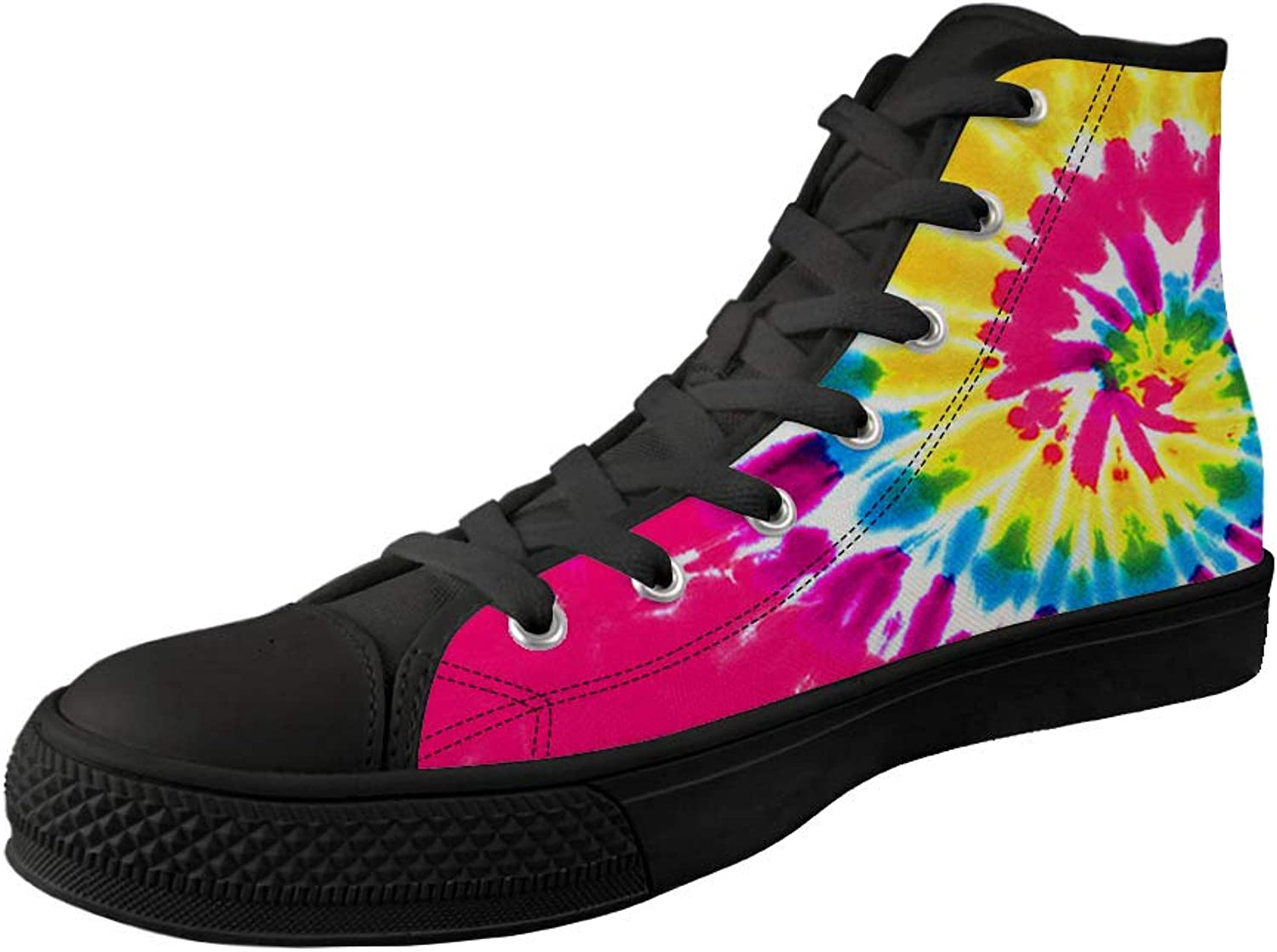 FUSURIRE colorful Graffiti High Top Flat shoes Lace up Fashion shoes Breathable Sneakers for Women Girls