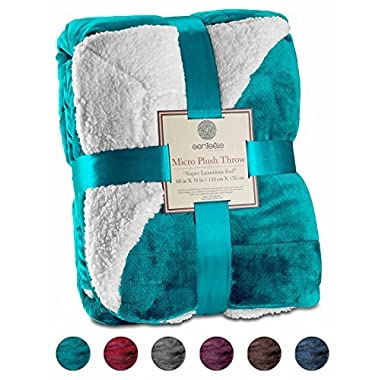 Genteele Sherpa Throw Blanket Super Soft Reversible Ultra Luxurious Plush Blanket (50  X 60 , Teal)