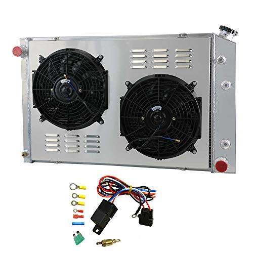 OzCoolingParts 3 Row Core Aluminum Radiator + 2 x 12' Fans w/Shroud + Thermostat/Relay Wire Kit for 1973-1991 74 75 76...
