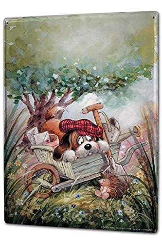 Odeletqweenry Aluminium Teken, 12 x 18 Inch Decoratieve Tin Teken Metalen Plaat Poster Plaque Grappige Cartoon Hond Egel Kruiwagen Metalen Teken