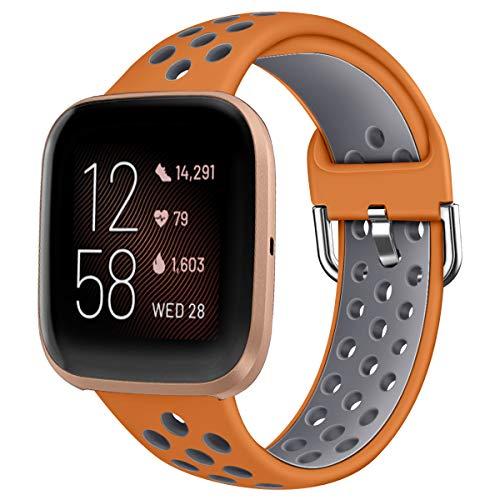Oihxse Silicona Ajustable Correa Compatible con Fitbit Versa/Versa Special Edition/Fitbit Versa 2/Versa Lite Watch Deportivo Suave Reemplazo Delgada Pulsera Accesorio Mujer Hombre (Marrón Gris,S)