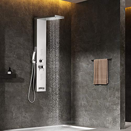 Adbatnos Shower Panel Multifunctional Shower Panel System Shower Tower, Rainfall Waterfall Spout, 2 Massage Jets, Tub Spout and Handheld Shower, 304 Stainless Steel Shower Panel with Body Jets