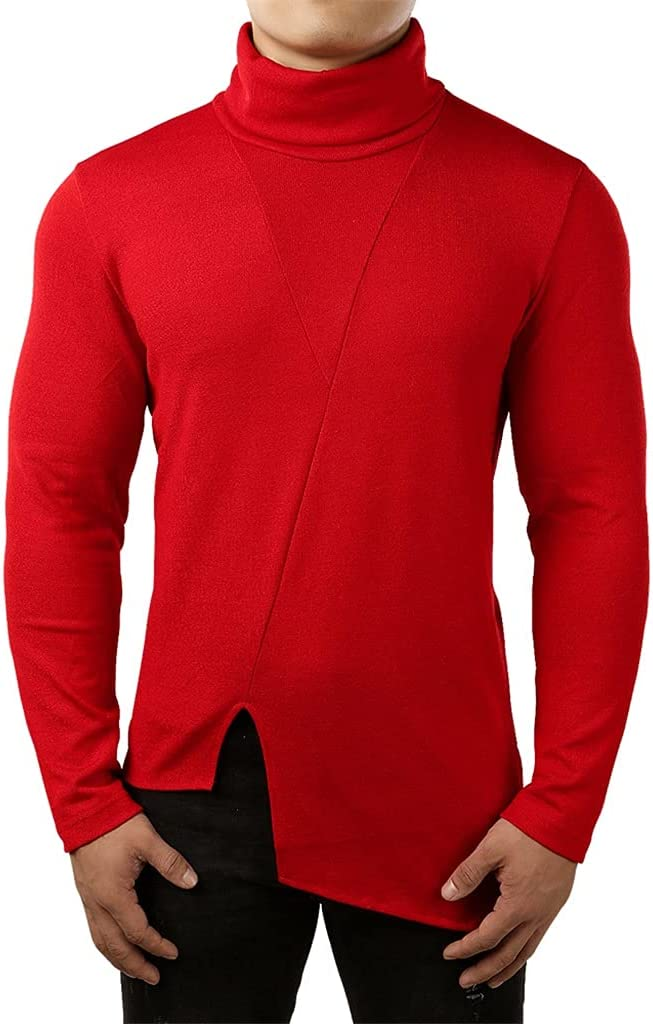 ZTTZX Irregular Hem Thin Sweater Men Casual Slim Fit Turtleneck Sweater Mens Solid Knitted Sweaters Men Pullover Male (Color : Red, Size : M code)