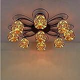 Tiffany - Lámpara de techo estilo vintage de cristal tintado, lámparas colgantes E27, lámpara barroca, 9 cabezales grandes, lámpara de salón, dormitorio, plafones de la sala de estudio