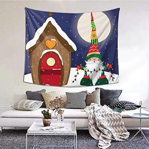 Tapiz de Papá Noel Feliz Navidad, tapiz para dormitorio, sala de estar, manta para colgar en la pared, impresión 3D, decoración del hogar, 60 x 129,5 cm, elfos folclore nórdico 10