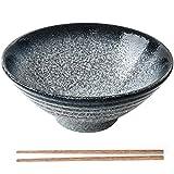 Japanischer Ramen Schüssel aus Keramik, Großer Suppenschüssel mit Essstäbchen, Vintige Ramen Schale Porzellan Nuddelschale 8 Zoll, Persönlichkeit Ramen Schalen für Müsli, Nudeln, Vorspeise (Blau)