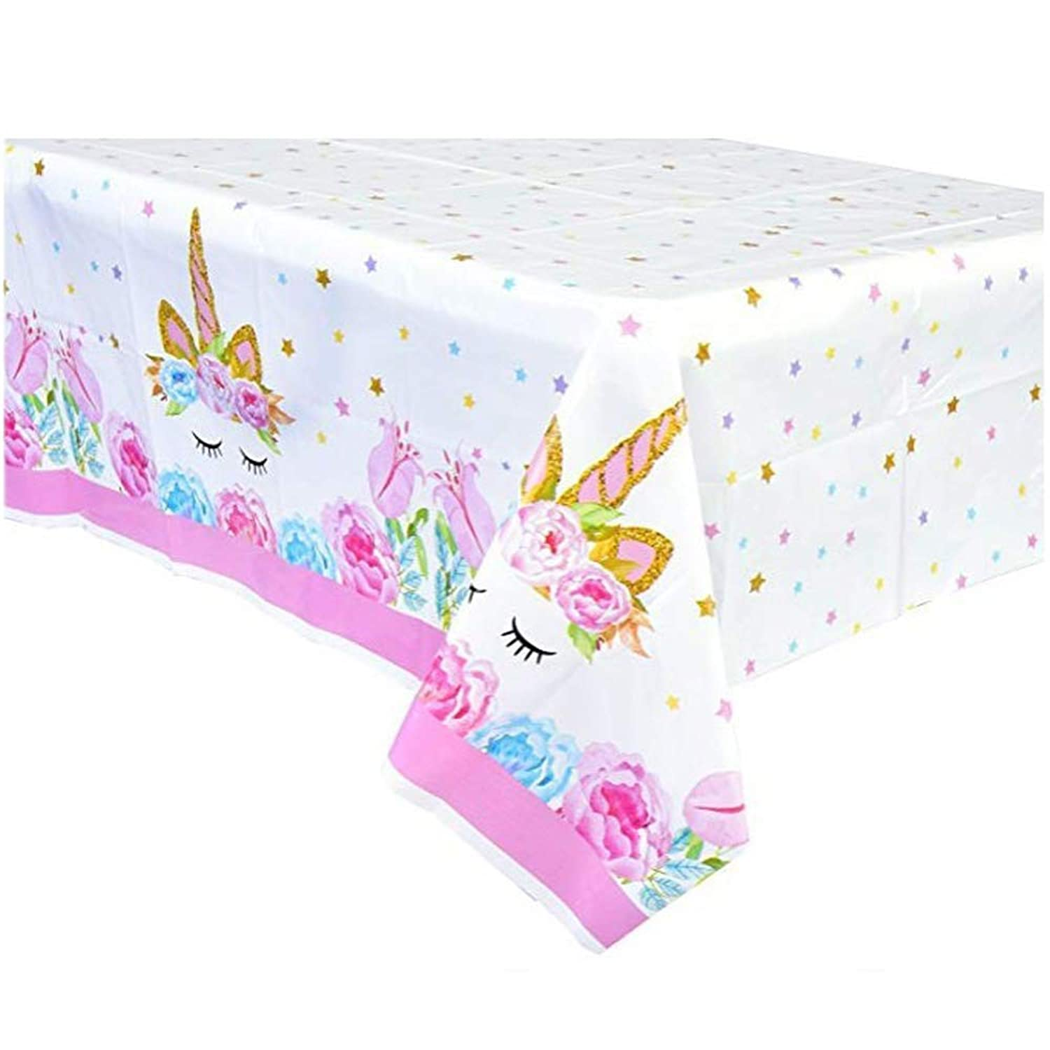 Unicorn Plastic Tablecloth, Disposable Table Cover for Unicorn Party Supplies,Featival Birthday Gift for Girls Kids Decoration and Baby Shower(43 x 71 in, 1 pcs)