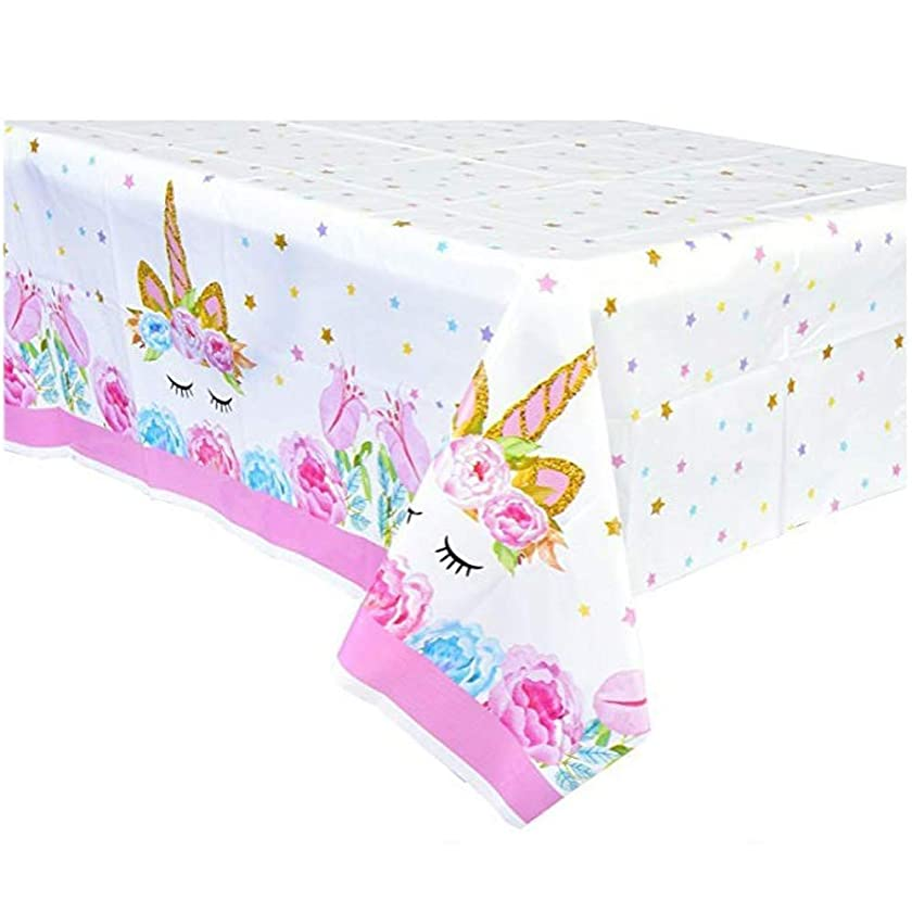 Unicorn Plastic Tablecloth, Disposable Table Cover for Unicorn Party Supplies,Featival Birthday Gift for Girls Kids Decoration and Baby Shower (54 x108 in, 2 pcs)