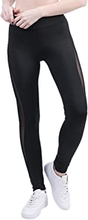 BOZEVON Women Sexy Mesh Patchwork High Waist Yoga Pants Fitness Sports Trousers Running Leggings
