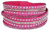 Mevina Damen Strass Armband Wickelarmband Armschmuck mit echten Kristallen in viele Farben Pink A1106