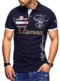 behype. Herren Kurzarm Polo-Shirt Bedruckt 20-0001 Navy L