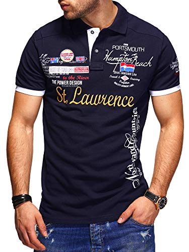 behype. Herren Kurzarm Polo-Shirt Bedruckt 20-0001 Navy 3XL