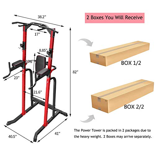 ZENOVA Power Tower Pull up Dip Station Strength Training Equipment for Home Workout Multi-Function Gym Tower Pull Up Push Up Squat Stand