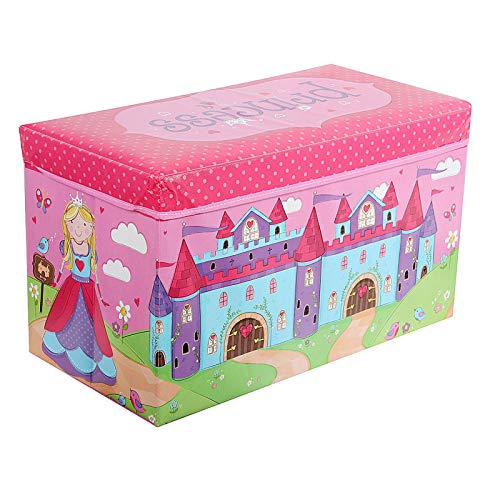 Kids Childrens Large Room Tidy Toy Quality Storage Box With Lid Boys Girls Books Folding Chest Clothes Seat Stool (Princess ) by FunkyBuys