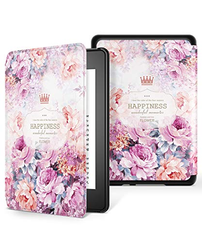 GVIEWIN All-New Kindle Paperwhite 10th Generation 2018 Case, Water-Safe Flowers Pattern Leather PC Hard Shell Auto Wake/Sleep Cover for new Kindle Paperwhite eBook Reader 10 Generation (Rose / Purple)