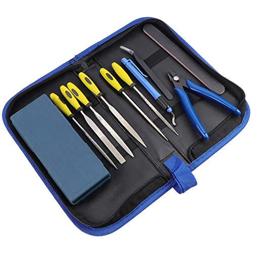 WiMas 11PCS 3D Printer Removal Cleaning Tool, Including Needle Nose Plier, Tweezers, Double-sided Polished Bar, Gundam Model Tools, Filing Tool, Cutter Clean Up Kit for 3D Printer