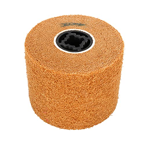Rueda de pulido de pulido de 5 x 4 x 0,8 pulgadas, rueda de pulido de alambre de aleta abrasiva no tejida, rueda de dibujo de alambre para máquina pulidora grano 120 #