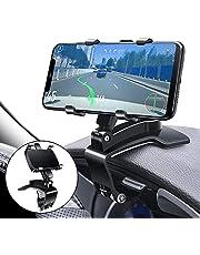 Multifunctionele autohouder voor dashboard, met verstelbare veerclip, 360 graden draaibaar, draagbaar, voor auto en smartphones van 4 tot 7 inch (zwart)