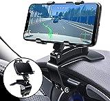 Supporto per telefono multifunzione per cruscotto auto, con clip a molla regolabile girevole a 360°, portatile, per GPS e smartphone da 4 a 7 pollici (nero)