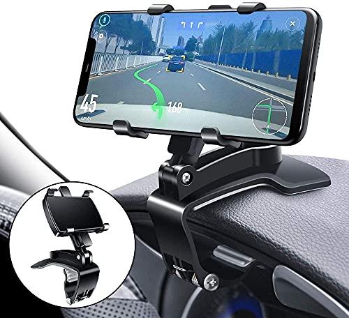 Soporte de teléfono multifunción para salpicadero de coche, con clip de resorte ajustable, giratorio de 360 grados, portátil, para GPS y smartphones de 4 a 7 pulgadas (negro)