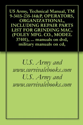 US Army, Technical Manual, TM 9-3415-235-14&P, OPERATORS, ORGANIZATIONAL, INCLUDING REPAIR PARTS LIST FOR GRINDING MAC, (FOLEY MFG. CO., MODEL 37401), ... military manuals on cd, (English Edition)