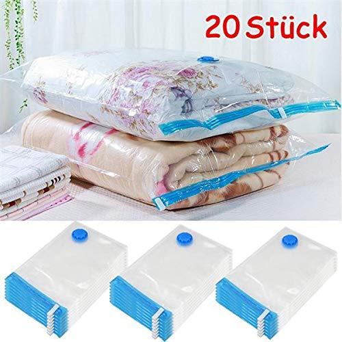 Yaheetech 20er Set Vakuumbeutel Kleiderbeutel Aufbewahrungsbeutel Platzersparend für Kleidung, Bettdecken, Bettwäsche Reise Vakuum Mehrweg