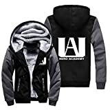 NIEWEI-YI Men's Casual Hooded Sweatshirts,My Hero Academia Chaqueta con Capucha y Cremallera para Hombre, Forro Polar,XXL
