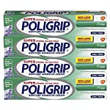 Super Poligrip Zinc Free Denture and Partials Adhesive Cream, 2.4 ounce (Pack of 4)