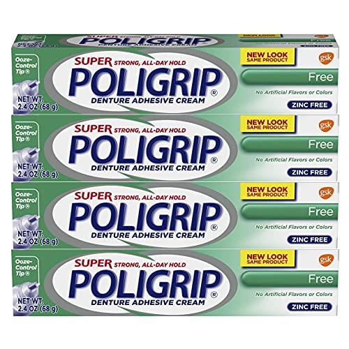 Super Poligrip Original Formula Zinc Free Denture and Partials Adhesive Cream, 2.4 ounce (Pack of 4)
