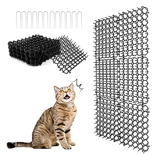 Tappetino per gatti Scat con punte, tappetino repellente per gatti, tappo per scavi a strisce piatte, tappetini deterrenti per animali domestici per giardino, recinzione, 7,9 × 6,1 pollici (12 Pezzi)