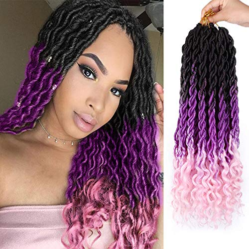 AISI BEAUTY Goddess Locs Crochet Hair for Black Women Bohemian Crochet Faux Locs Crochet Hair Ombre Faux Locs with Curly Ends 6Pcs/Lot(20Inches, Black/purple/pink#)