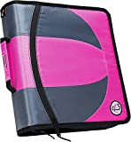 Case-it Dual 2-in-1 Zipper D-Ring Binder 2 Sets of 1.5-Inch Rings with Pencil Pouch,Pink, Dual