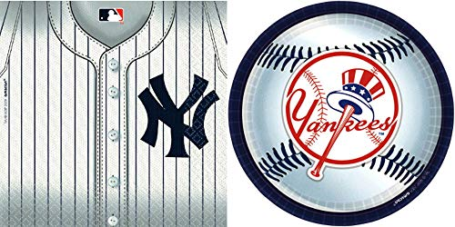 New York Yankees - Napkins, Plates, Happy Birthday Party Bundle for 36 People - Includes 1 Maze Game Activity Card by ClassicVariety
