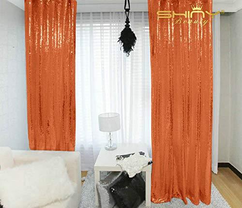 Orange Sequin Curtains 2 Panels 2FTx8FT Baby Backdrop Glitter Backdrop Sequin Backdrop for Wedding N0319
