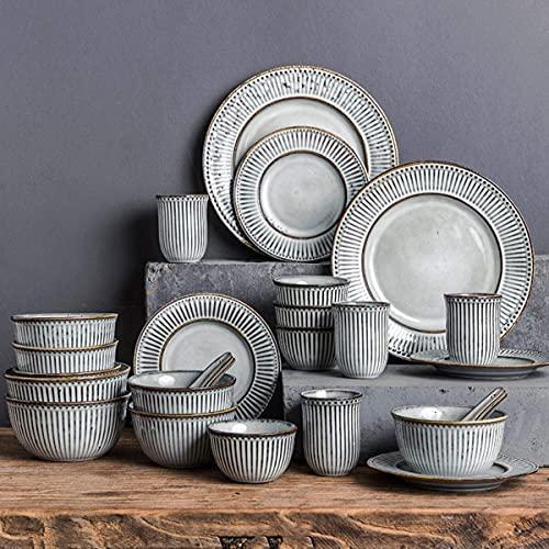 Peakfeng Juegos de vajilla de Porcelana Conjuntos de Platos de glaseado de 38 Piezas, incluidos Platos de Cuenco/Placas de Postre/Platos de Cena, Servicio para 8 - para Cocina Diaria y Comedor