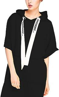 f914fecb695ef0 Vestiti Donna Estivi Felpa con Cappuccio Mezza Manica Larghi con Tasca  Eleganti Basic Puro Colore Fashion