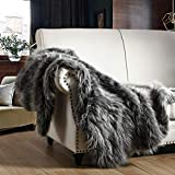 HORIMOTE HOME Luxury Faux Fur Throw Blanket, Grey and Black High Pile Mixed Throw Blanket, Super Warm, Fuzzy, Elegant, Fluffy Decoration Blanket Scarf for Sofa, Couch and Bed, 50''x 60''