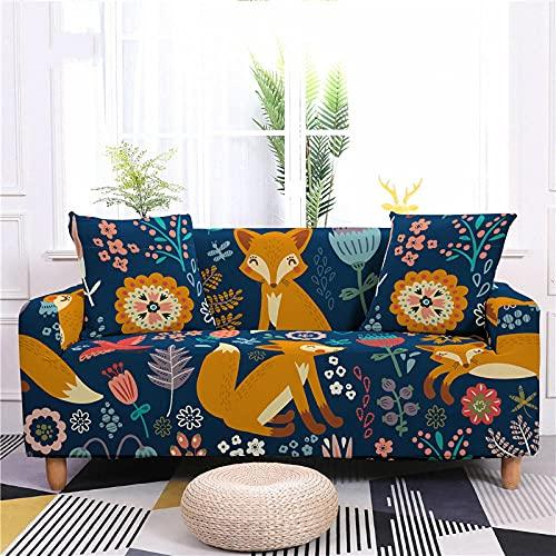 Funda Sofa 4 Plazas Flor Amarilla Mostaza Azul Marino Fundas para Sofa Spandex Lavables Desmontables Fundas Sofa Elasticas Ajustables Cubre Sofa Modernas Universal Espesas Funda para Sofa