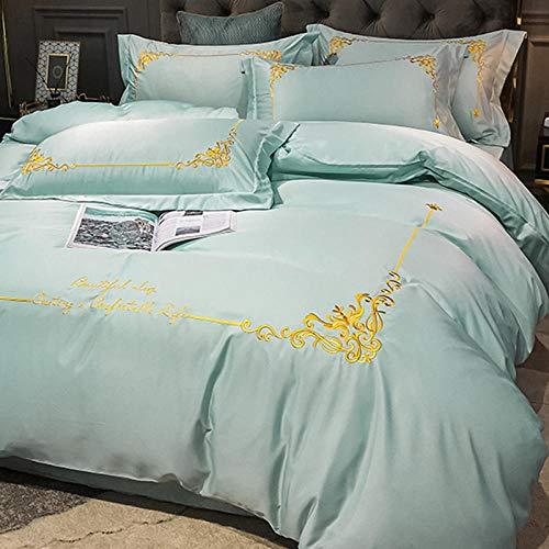 bettwäsche 135x200 4teilig grau,Sommer EIS Seide vierteilige kontinentale High-End Set von Seidenlicht Luxus Weiler Einfache Hautfreundliche Bett Einzelne Kissen Ärmel Bettwäsche U