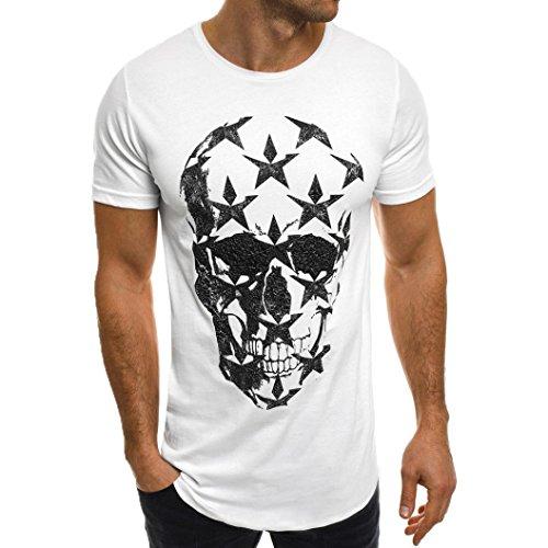 Shirt Herren LHWY Männer Mode Tops Rundhals Kurzarm T-Shirt Teens Jungs Party Bluse Weiß Streetwear Schädel Print Sommerkleidung (4XL, Weiß)