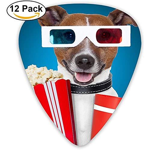 Fashion Classic E-Gitarre Picks Plektren Lustiger Hund mit Popcorn und Schutzbrille tragen Instrument