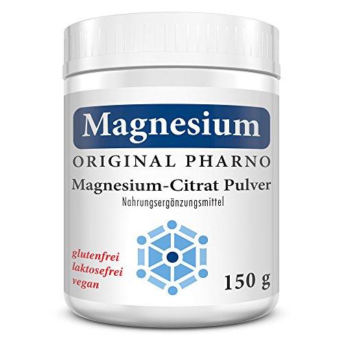 Magnesium-Citrat Pulver - 100% Pures Magnesiumcitrat ohne Zusätze - Für Muskeln, Nerven & Elektrolytbalance - 1 x 150 g | 1 Dose [Original-Pharno]