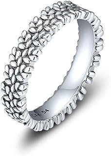 خاتم من الفضة الإسترلينية من CKK 925 مع كريستال شفاف للرجال، خواتم رائعة للمراهقين (صخور، 6)