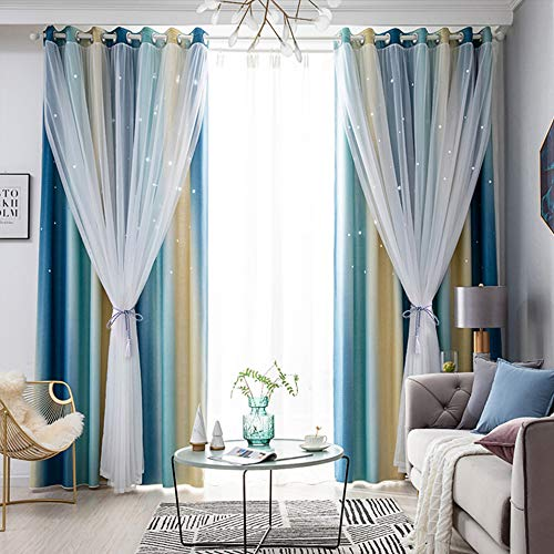 Tinysun Color Candy Stripe Star Cut-Out Romantic Curtains for Bedroom 2 Panels,2-Layers Mix Design of Fabric & Tulle,Pretty Window Curtain for Kids Room(W52 x L84,Total is 104-Inch Wide,Blue/Beige)