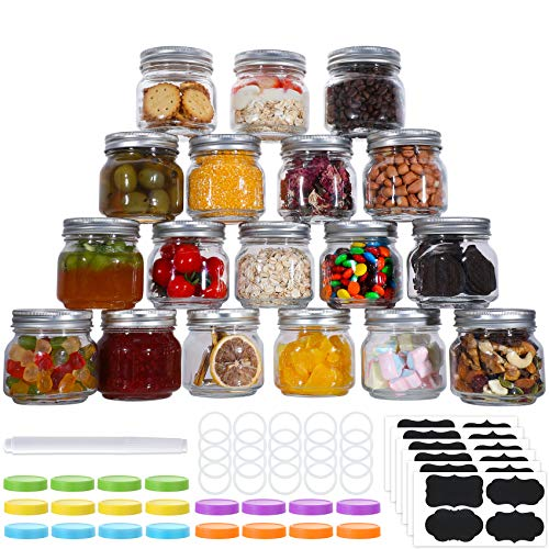 20 Pcs Mason Jars 8 Oz Regular Mouth Glass Canning Jars With Silver Metal Airtight Lids And Bands Colored Lids Chalkboard Labels And Marker For Preserving Jam Jelly Honey Favors Decorating