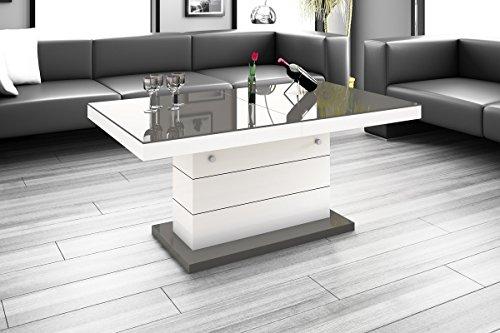 Preisvergleich Produktbild Design Couchtisch Tisch Matera Lux Wohnzimmertisch Hochglanz Saülentisch höhenverstellbar ausziehbar Esstisch Sofatisch (Grau Hochglanz / Weiß Hochglanz / Grau Hochglanz)