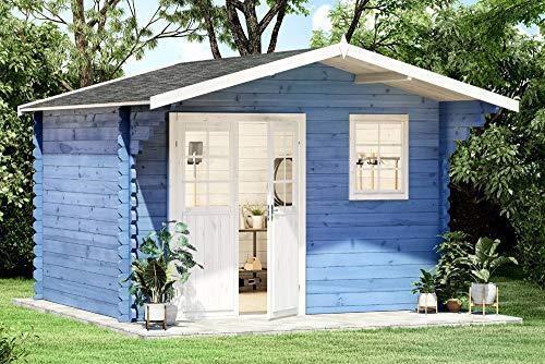Alpholz Gartenhaus Erki-44 A aus Massiv-Holz | Gerätehaus mit 44 mm Wandstärke | Garten Holzhaus inklusive Montagematerial | Geräteschuppen Größe: 380 x 320 cm | Satteldach