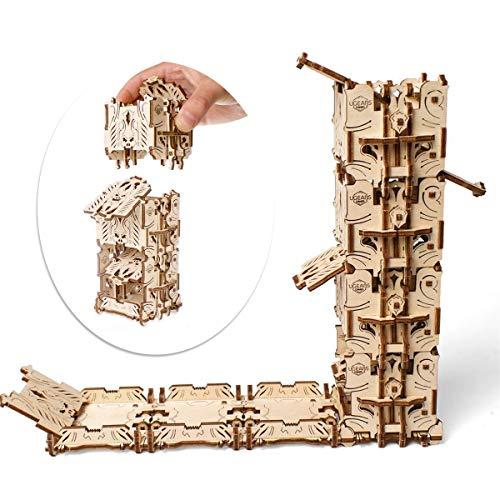 UGEARS Torre per i Dadi - Tazza per Dadi (4) - Dice Tower - Puzzle 3D Rompicapo Legno - Fai da Te Kit di Costruzione - Torre Lanciadadi per Giochi di