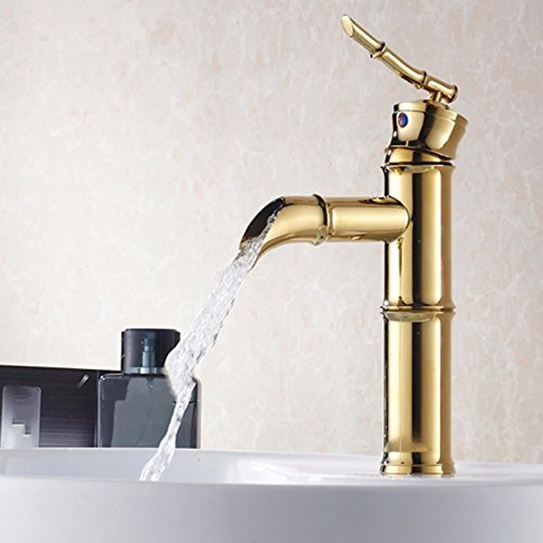LHbox Basin Mixer Tap Bathroom Sink Faucet European modern minimalist vacuum coated basin cold water full copper basin lowered basin mixer